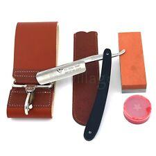 ZY Luxury Straight Razor Ebony Wood Handle Men Barber Shaving and Sharpening Set