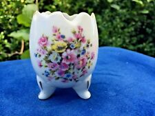Antique Scalloped Egg Vase 3 Footed Lefton Porcelain Primrose Rose Poppy Unique