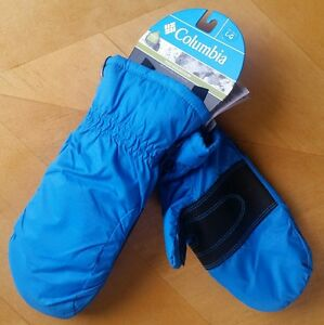 NWT Columbia CITY TREK Mittens OMNI-SHIELD WATER RESISTANT BLUE Youth LARGE L