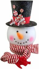Peppermint Snowman Tree Topper, 14 Inches