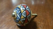Hand-made Hand-painted Ceramic Drawer Knob - Multi colour shapes - S54