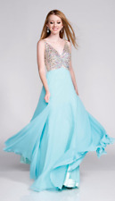 BEADED CHIFFON PROM EVENING PAGEANT GOWN IN AQUA SIZE 6