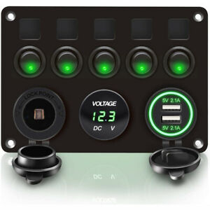 5 Gang 12V LED Light Switch Control Panel Voltmeter USB Charger Camper Car