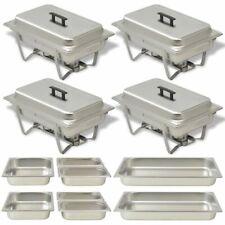 vidaXL Chafing Dish Set 4 pcs Stainless Steel Lid Food Water Pan Stand Burner