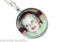 "Sterling Silver Round Photo frame Double Sided pendant and 18"" chain Gift Boxed"