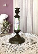 Antik 1 Biedermeier Kerzenständer Messing Kupfer? Leuchter Porzellan-Einsatz