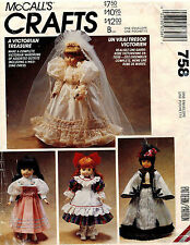 """McCall's Victorian Doll Clothes Pattern 758 13"""",14"""",16"""" UNCUT"""