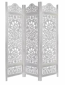 Indien Antique Furniture Handcraft Wooden Partition Screen Room Divider 3 Panels