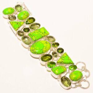 """Green Turquoise, Green Amethyst, Peridot 925 Sterling Silver Bracelet 7-8"""""""