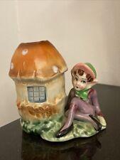 Vintage Pixie Elf Elves Figurine Mushroom House Kitschy Vase Gnomes