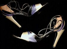 """CHARLES JOURDAN PARIS Silver/Lilac 4""""Leather-Tie Up-Open Toe-Made In France-6.5B"""