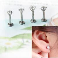 4x 16G Gem Steel Tragus Lip Ring Monroe Ear Cartilage Stud Earring Body Piercing