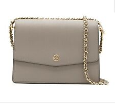Tory Burch Robinson Convertible Shoulder Bag French Gray Leather Crossbody Bag