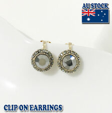 Classic 18k Gold Plated Silver Gray CZ Crystal Round Clip on Earrings