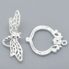 Silver Plated Toggle Clasp Dragonfly Closure Clasps Fastening 5 Sets