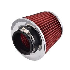 1x 75mm Universal Fit Cold Air Intake Round Cone Filter KN Type Red UK