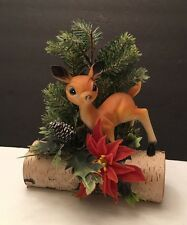 Vintage Christmas Decoration Deer on Log Centerpiece Birch Wood/Pine Tree CUTE!!