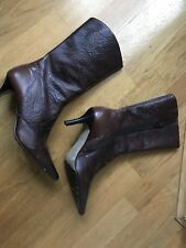 Naf Naf Faux Leather Brown Indigo Patterned Kitten Heels Boots Size 4 /37