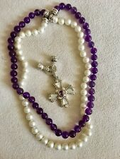 Judith Ripka Necklace Pearl & Amethyst With Enhancer 3 Necklaces In 1 Great Gift
