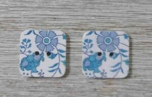 wood square buttons Sewing 2 Holes blue flower 1/2 inch 2Pcs