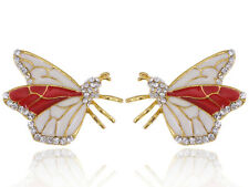 Golden Tone Hand Painted Butterfly Insect Crystal Rhinestone Element Earrings