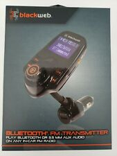 BlackWeb LCD Bluetooth FM Transmitter, Integrated Controls for Hands Free ☆ New