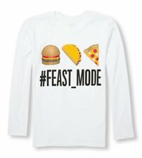 New Boys Children's Place Long Sleeve Feast Mode Emoji Shirt Size S 5/6