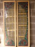 Belle paire de vitraux Art Nouveau signés Janin Nancy