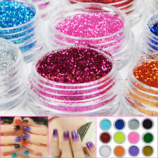 12 Pots Colors Glitter Dust Powder Nail Art Acrylic UV DIY Makeup Decoration Kit
