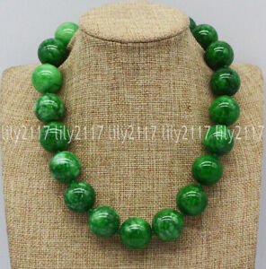 Huge 20mm Natural Green Emerald Jadeite Round Beads Gemstone Necklace 18-22''AAA