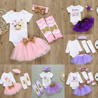Newborn Infant Baby Girls Easter Rabbit Bunny Romper Bodysuit Skit Set Clothes