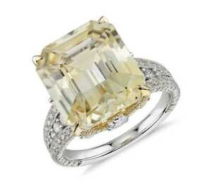 Yellow Emerald-cut 925 Sterling Silver White Pear CZ Half Studded Shank Ring