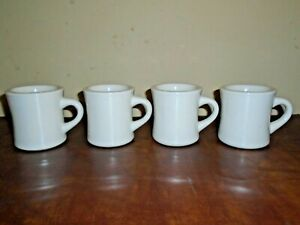 4 Vintage Heavy Duty COFFEE MUGS Cups Restaurant Diner WORLD ULTIMA 6oz