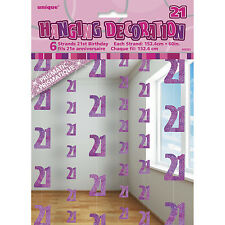6 Happy 21st Birthday Pink Sparkle Prismatic 5ft String Party Decorations
