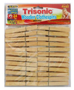 """Wooden Clothes Pins 24 Pcs 3½"""" Long Drying, Hanging, Clothes, Laundry - TriSonic"""