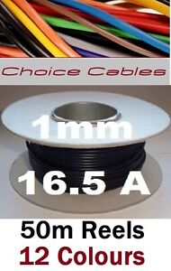 50M AUTO CABLE REEL 1MM 16A 12V VEHICLE CAR LOOM WIRE AUTOMOTIVE THINWALL WIRE