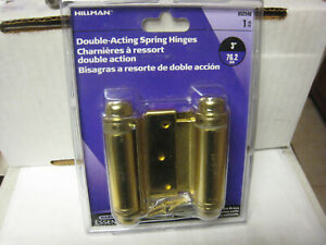 Hillman 852546 3in. Double Acting Spring Hinge, Satin Brass