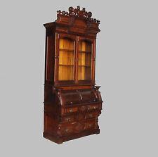Antique Victorian Walnut Cylinder Secretary Desk Bookcase