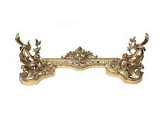 3 Piece French Gilt Bronze Chenet Andiron, 19th Century, Foliate Scroll Accents