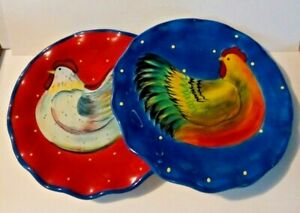 Susan Winget Chicken, Rooster Set of 2 Plates, Made by Certified International