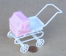 1:12 Scale White Pram + Pink Hood Dolls House Miniature Nursery Accessory 1843