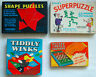 Vintage games x4 job lot  Tiddlywinks Shape Puzzles Superpuzzle Chess & Checkers