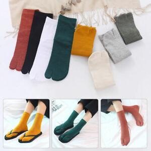 New 1Pair Couple Split Toe Tabi Socks Kimono Flip Flop Sandal Socks Solid Color