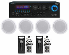 """Technical Pro Home Karaoke Machine System w/ Bluetooth+(4) 8"""" Ceiling Speakers"""