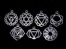 7 Pcs Mixed Tibetan Silver Chakra Pendants Charms Hollow Filigree Style P145