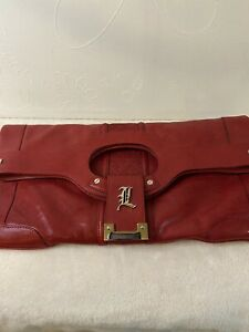 EUC Authentic Gwen Stefani L.A.M.B Red Leather Clutch Handbag Beautiful Design