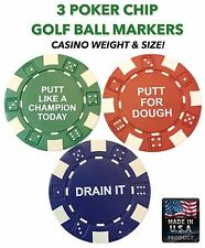 3 Professional Casino Poker Chip Golf Ball Markers with Inspirational Sayings