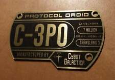 CUSTOM C-3PO SPECIFICATIONS DATA PLATE PROP STAR WARS DROID SERIAL