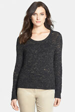 NWT Eileen Fisher Medium SCOOP NECK SHORT TOP SWEATER Black Marled Cotton M $298