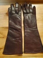 "Vintage Brown Soft Leather Long Gloves Made in Japan Size ""A"" Small - GREAT!!"